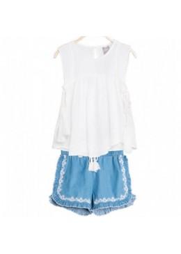 conjunto short denim y camisa de Dadati
